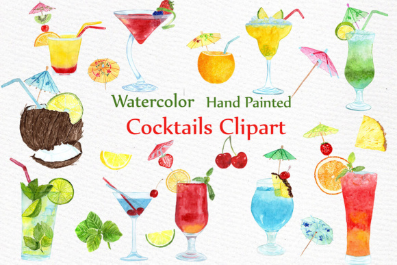 Watercolor Cocktails clipart SUMMER CLIPART Drinks Clipart Summer fruits  Cocktail Clip Art.