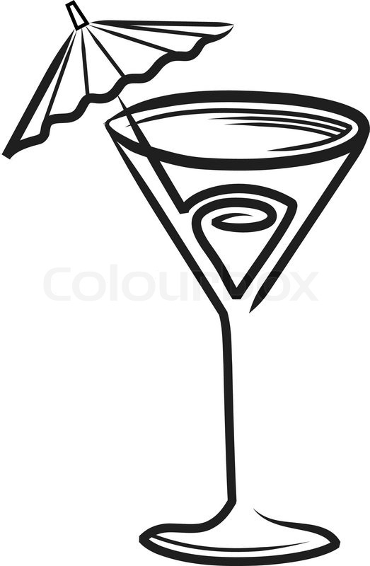 Cocktail glass with umbrella clipart.