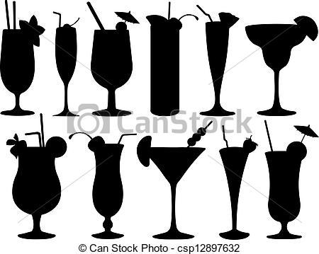 Set of cocktail glasses.