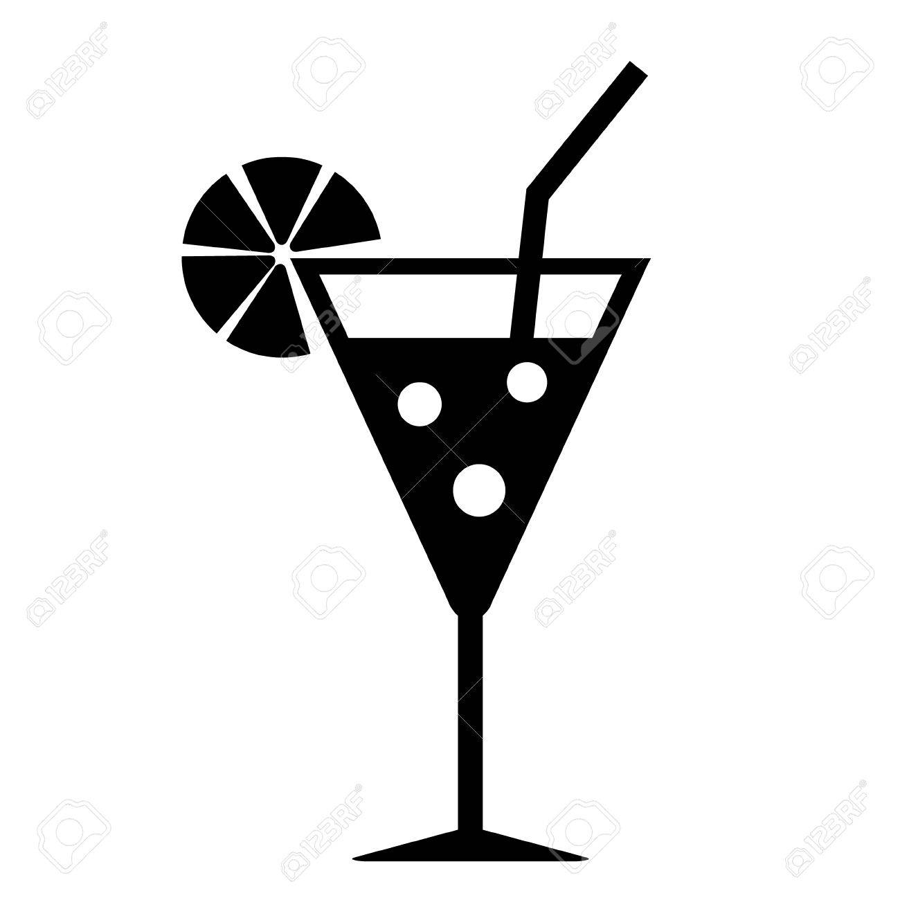 Cocktail glass icon on white background.
