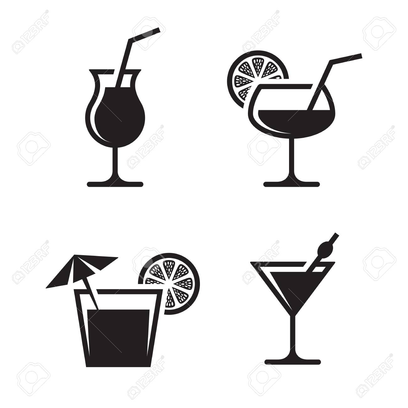 Cocktail black, isolated icons on a white background.
