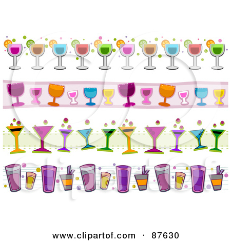 Cocktail Collage Clipart.