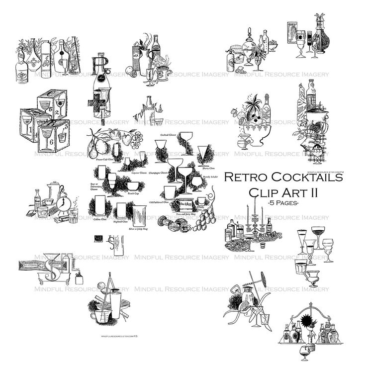 cocktail collage clipart #3