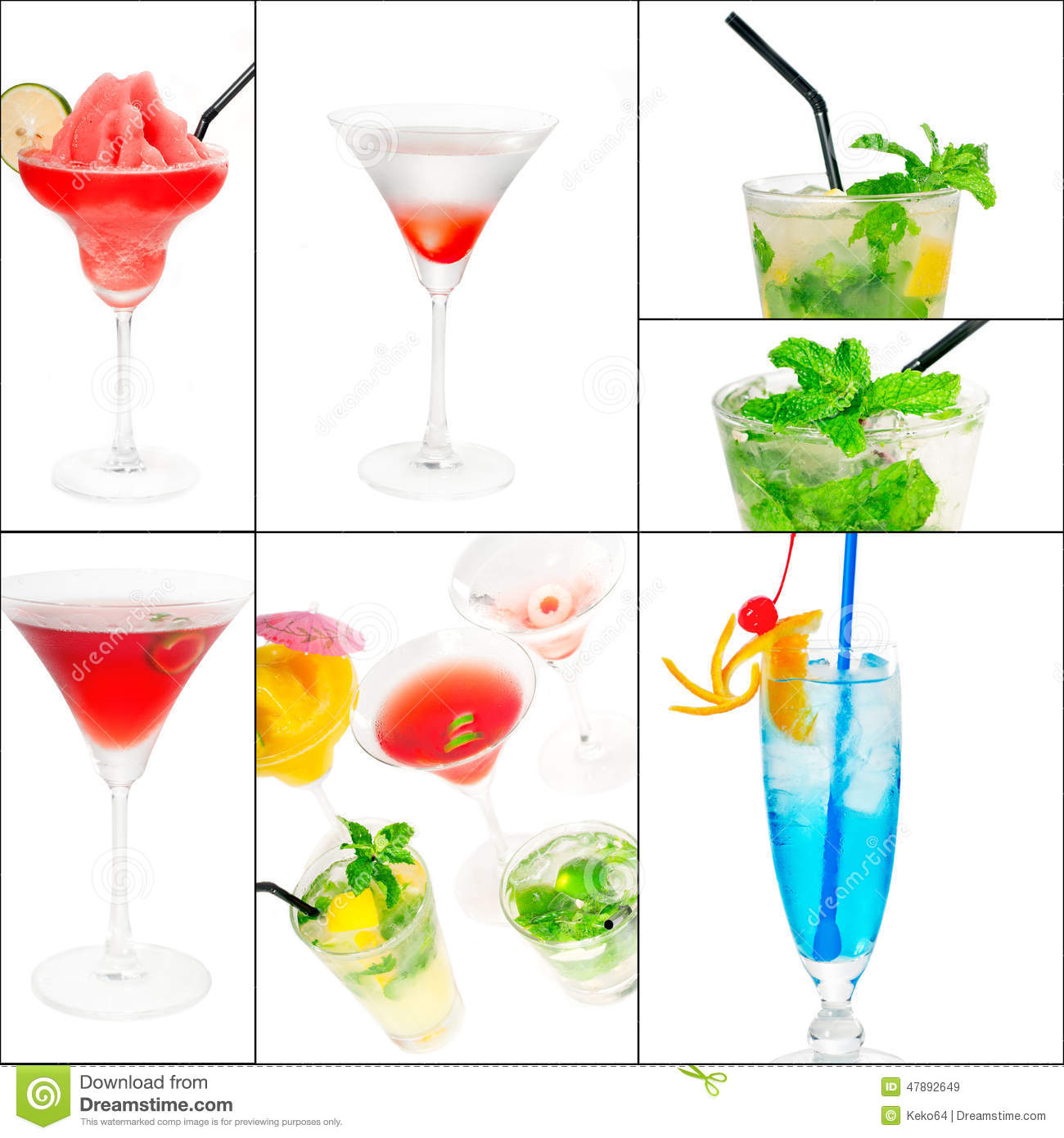 Cocktails Collage Stock Photo.
