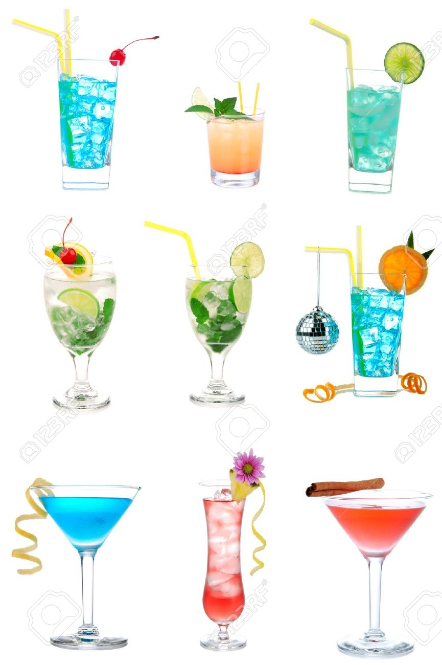 Cocktails Collection Collage Popular New Blue Hawaiian, Martini.