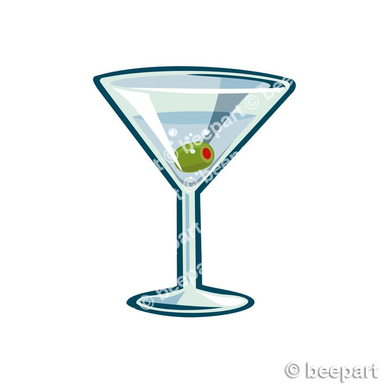 martini clip art, cocktail glass illustration, gin, vermouth, bar clip art,  royalty free clip art, INSTANT DOWNLOAD.
