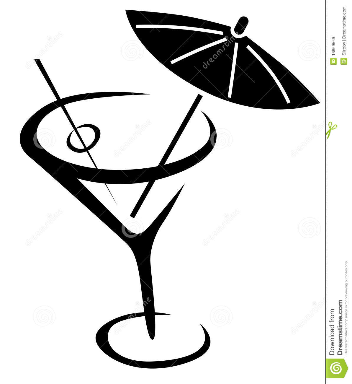 Black and white cocktails clipart.