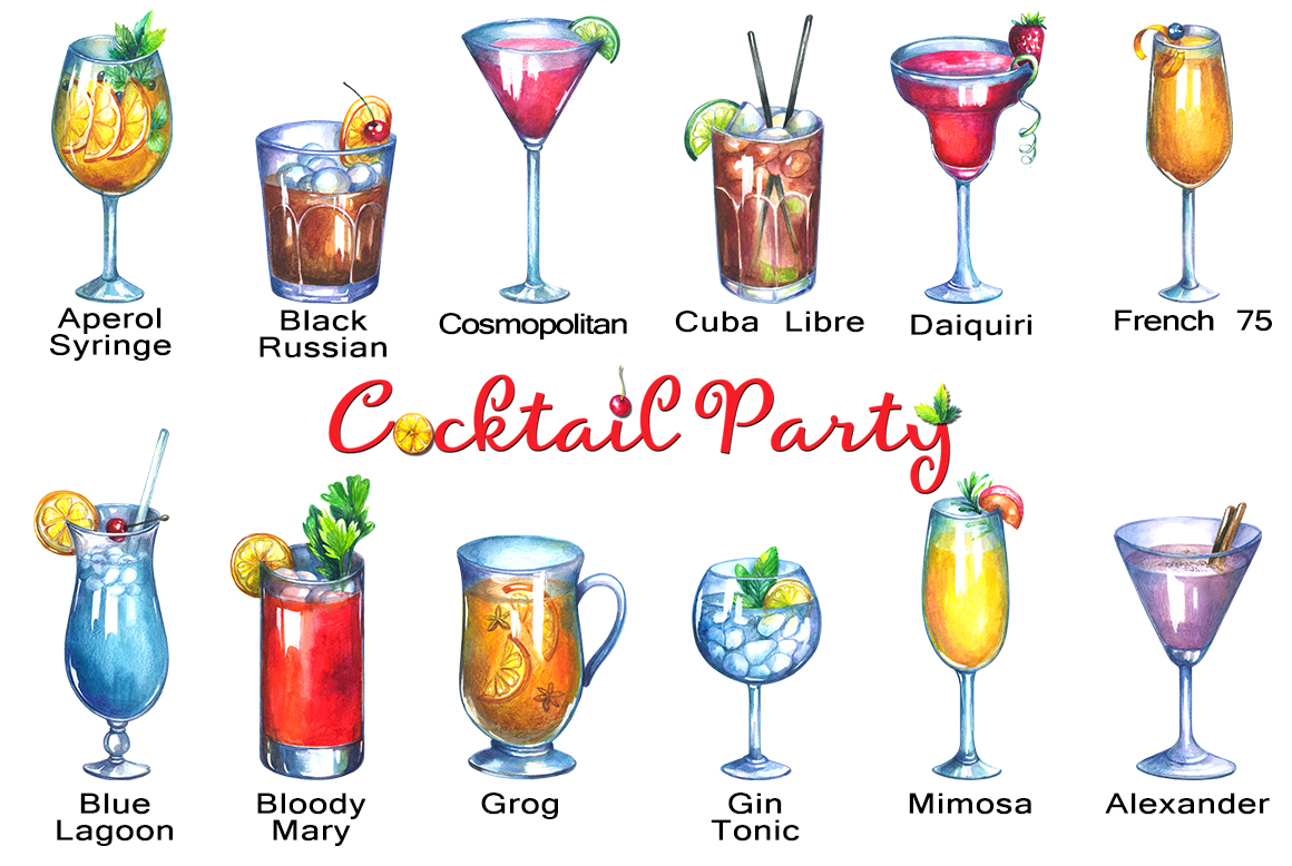 Cocktails watercolor clipart.