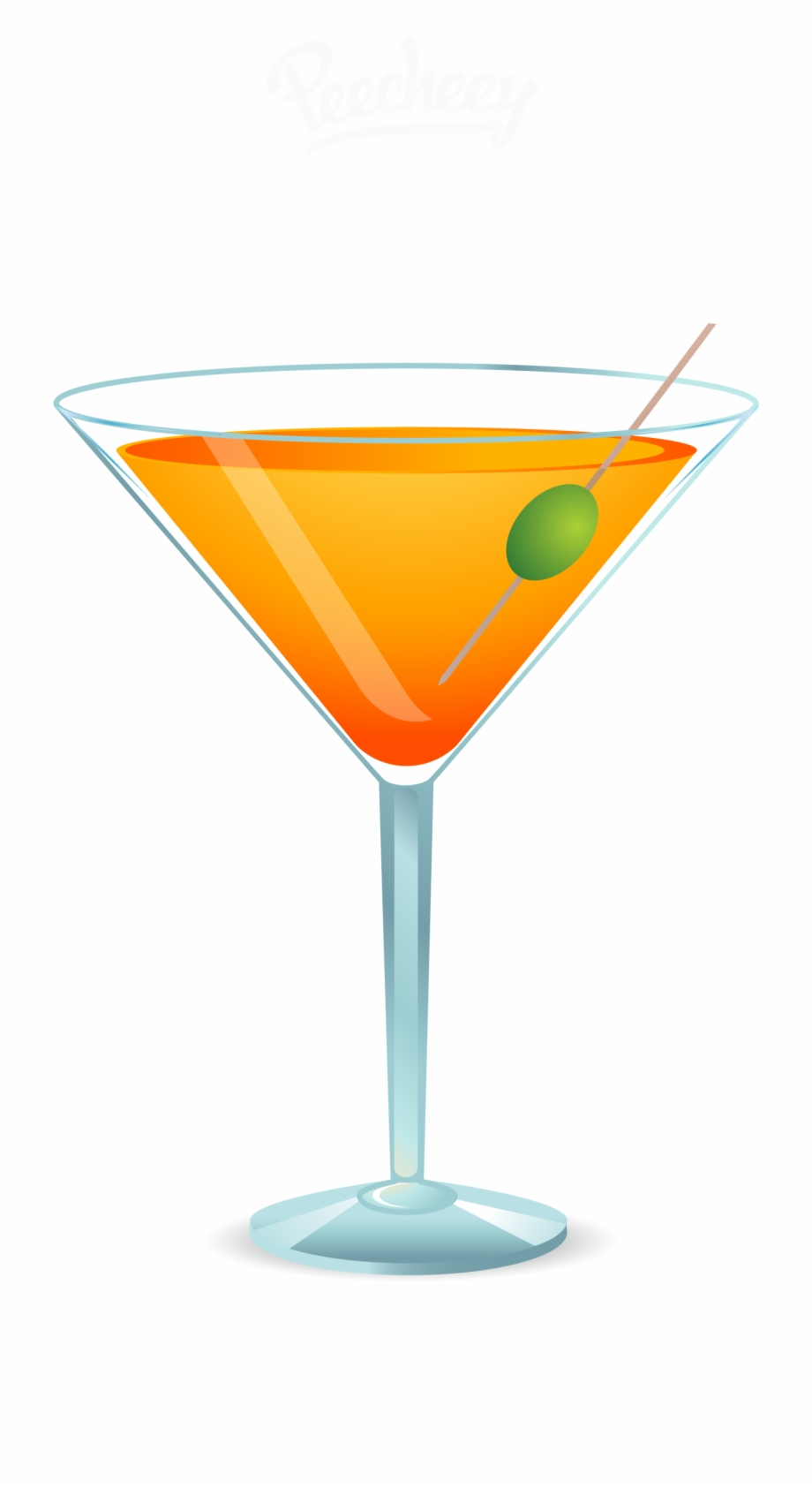 Cocktail Martini Orange Juice Clip Art.