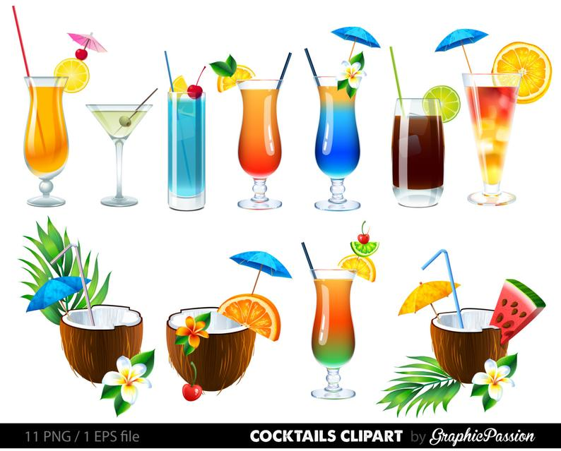 Summer Cocktails Clipart Cocktail Clip Art Summer Clipart Drinks Clipart  Cocktails Vector Digital Cocktails Summer Vector.