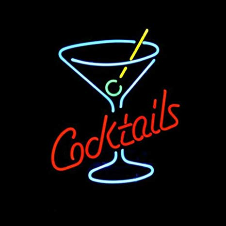 LiQi Cocktails Martini Glass LOGO BEER BAR REAL NEON LIGHT.