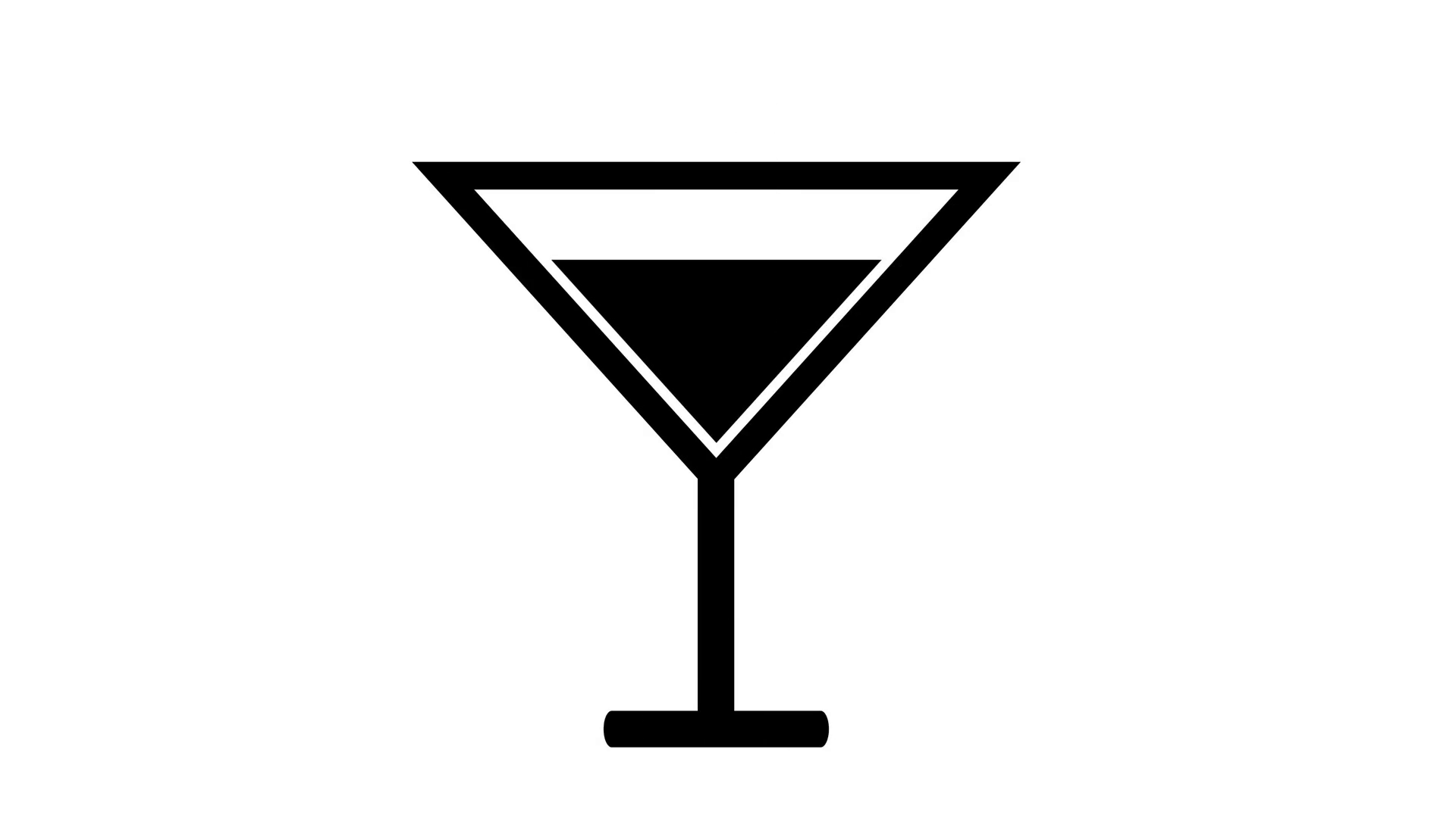 Black Alcoholic cocktail drink icon Motion Background.