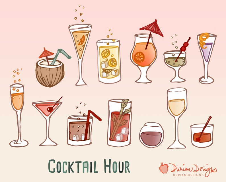 Retro cocktail party clipart commercial use, wine, hand drawn glasses, mai  tai, champagne, alcohol doodles clip art, instant download.