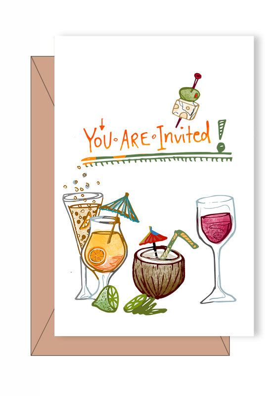 Festive cocktail party clipart commercial use, wine bar, hand drawn.