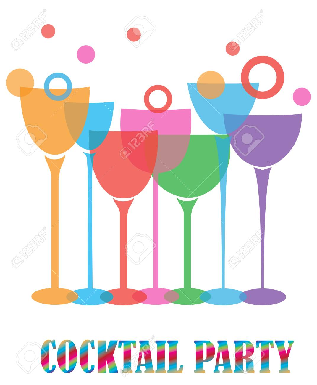 Vector illustration of cocktail party with wine glasses.
