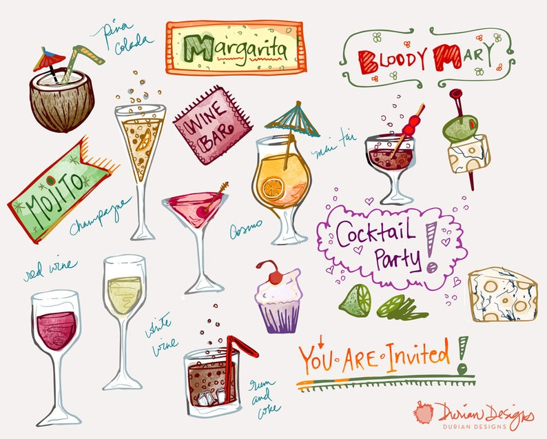 Festive cocktail party clipart commercial use, wine bar, hand drawn drinks,  mai tai, champagne, alcohol doodles clip art, instant download.