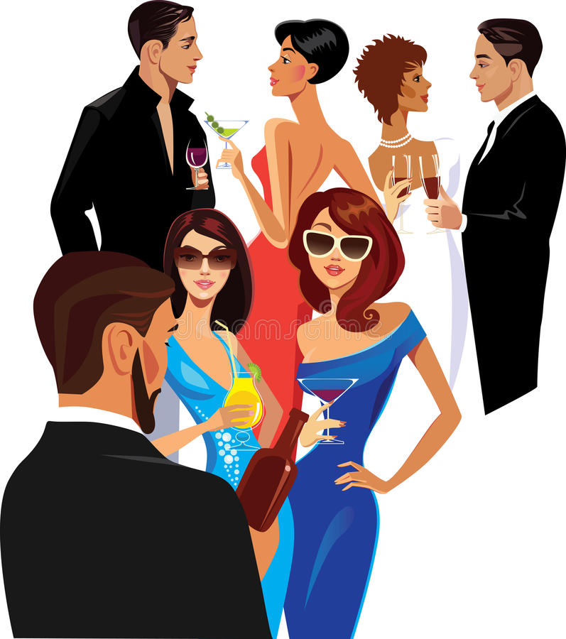 People Cocktail Party Stock Illustrations.