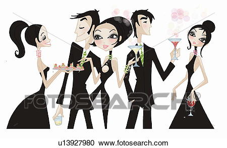 People mingling at a cocktail party Clipart.