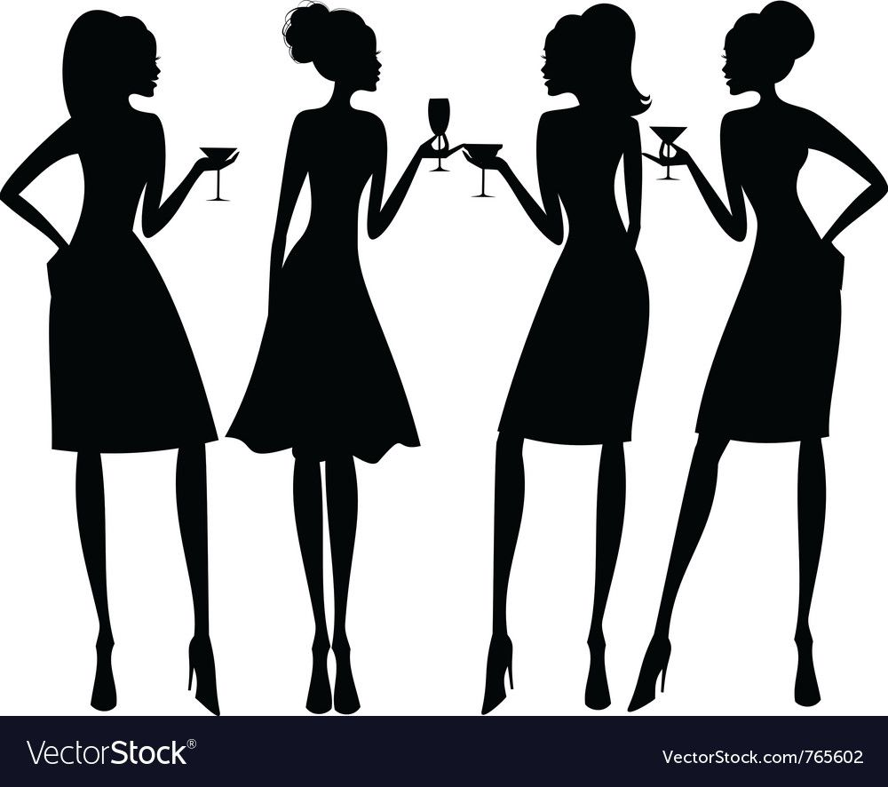 Cocktail party silhouettes Royalty Free Vector Image in 2019.