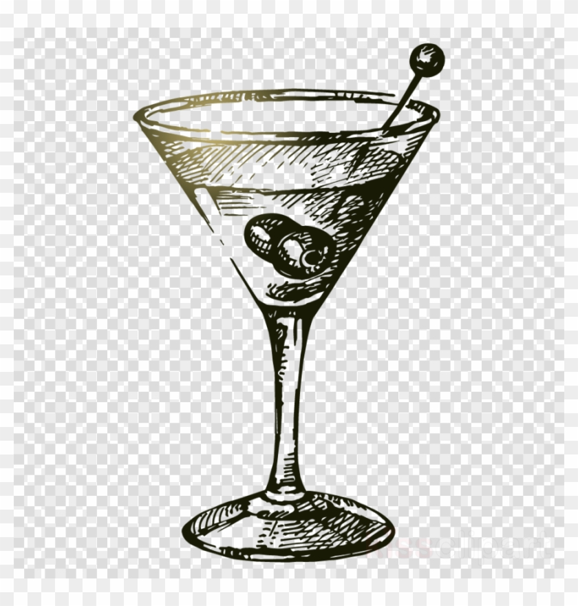 Cocktail Glass Vector Vintage Clipart Martini Cocktail.