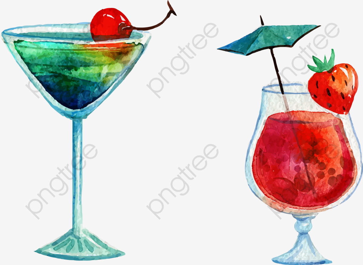 Vector Hand Painted Cocktail, Cocktail Vector, Vector, Hand Painted.