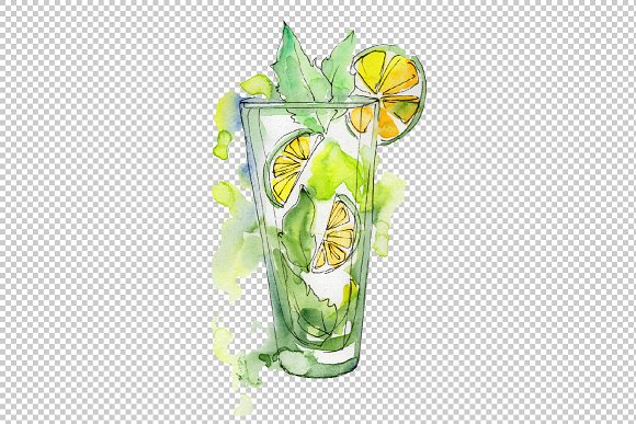 Refreshing cocktails PNG watercolor.
