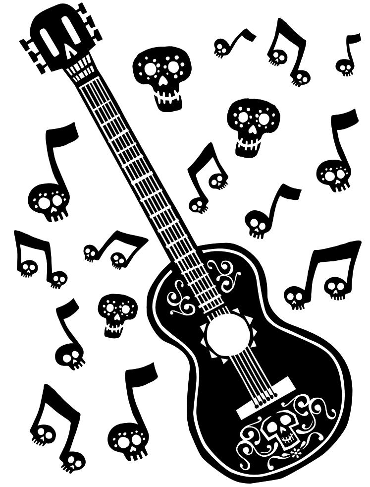 Coco Guitar Coloring Page.