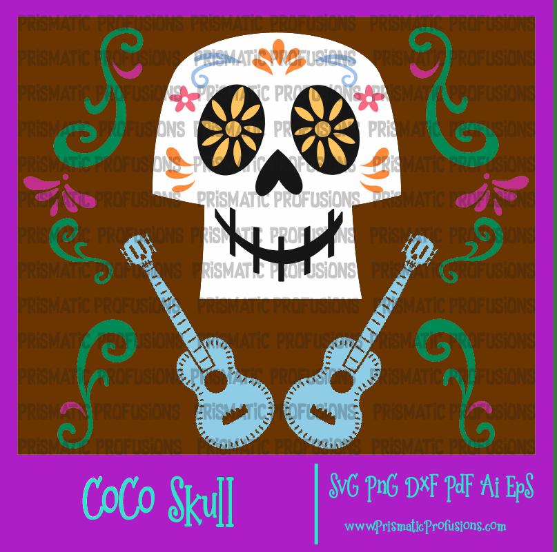 CoCo Skull and Guitar SVG, CoCo Skull and Guitar Clipart.