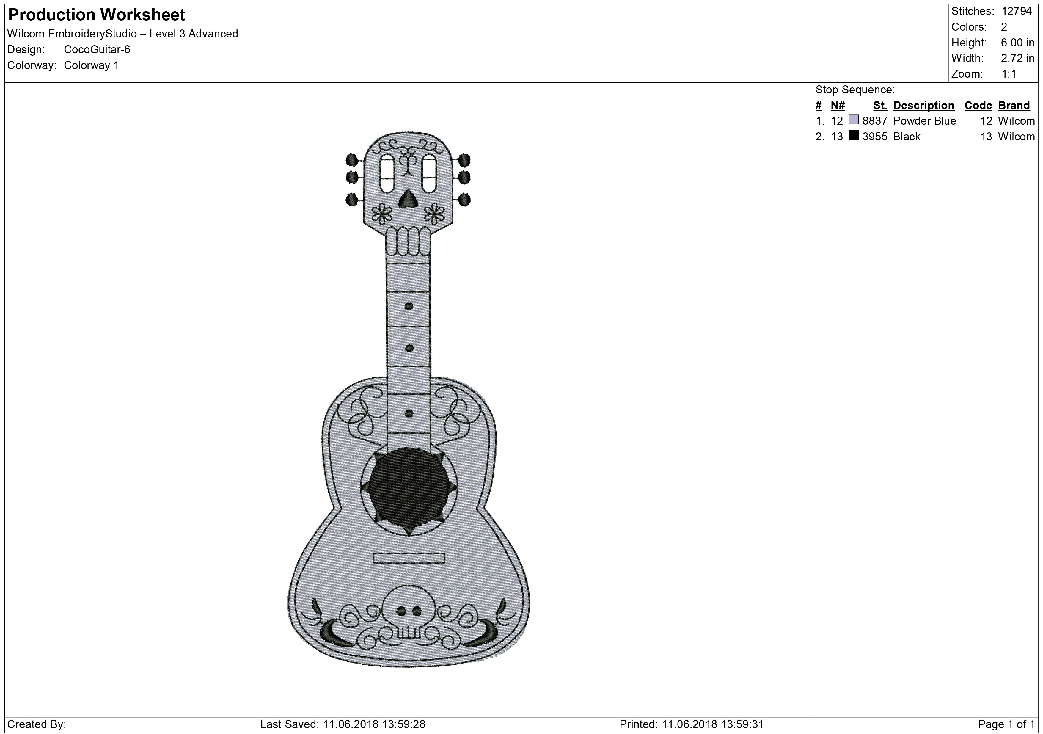 Coco Guitar Embroidery design.