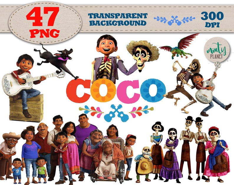 Coco Movie Clipart, Coco Movie PNG characters full quality, Clipart  transparent background, 300dpi, instant download, PSN031.