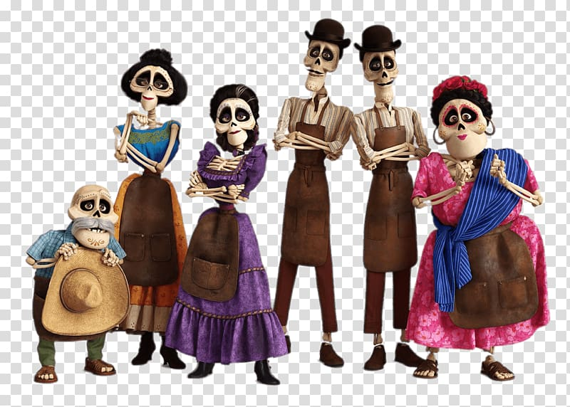 Coco characters movie, Miguel's Skeleton Family transparent.