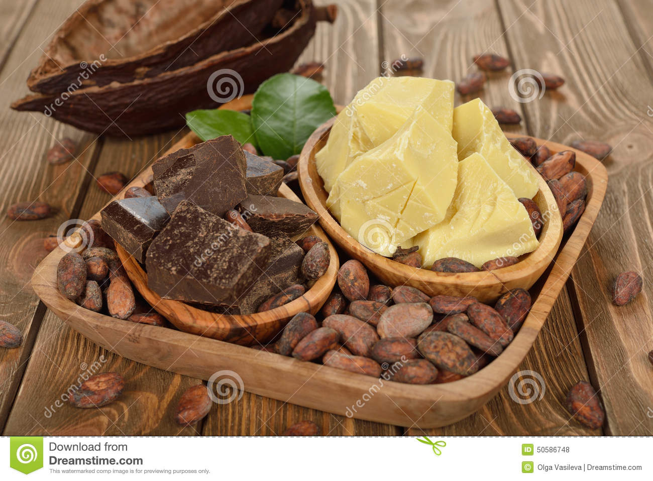 Cocoa Beans, Cocoa Butter And Cocoa Mass Stock Photo.