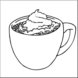 Black And White Hot Chocolate Clipart.