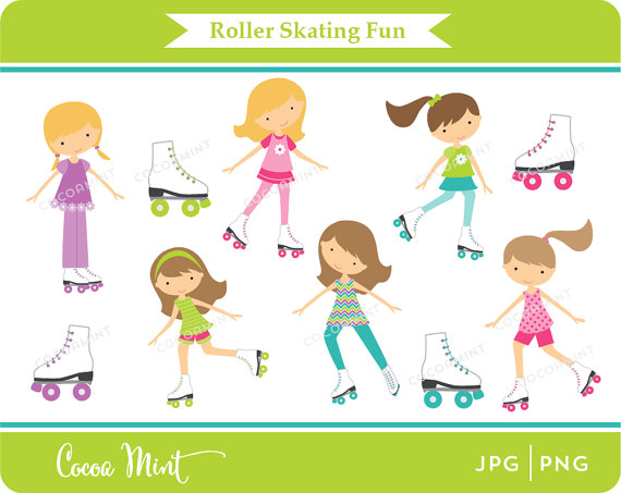 Roller Skating Fun Clip Art by cocoamint.