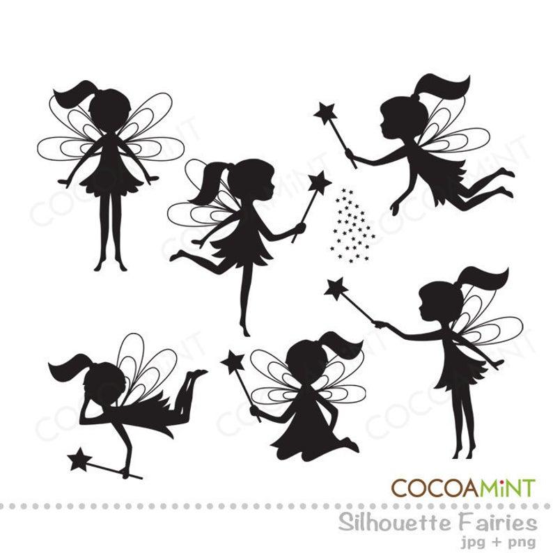 Silhouette Fairies Clip Art.