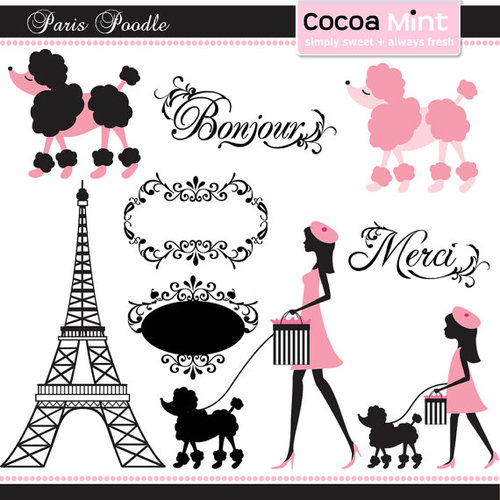 Paris Poodle Clip Art by cocoamint on Etsy on We Heart It.