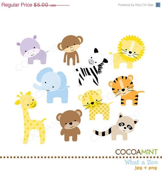 50% Off Sale What a Zoo Clip Art by cocoamint on Etsy.