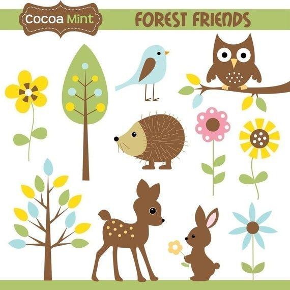 Forest Friends clip art by Cocoa Mint. $5.00. bird, owl, hedgehog.