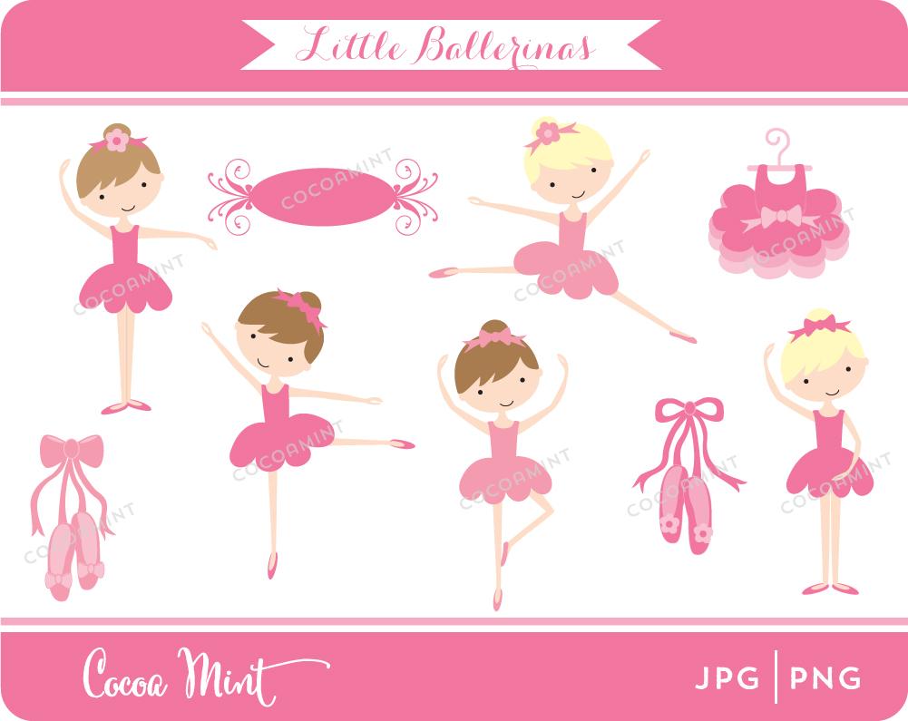 Little Ballerinas Clip Art.