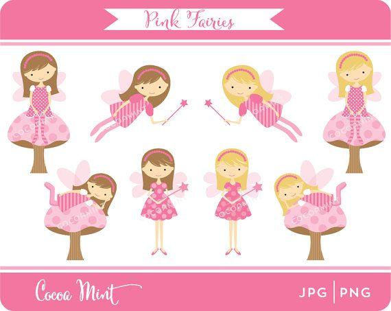 Pink Fairies Clip Art by cocoamint on Etsy, $5.00.