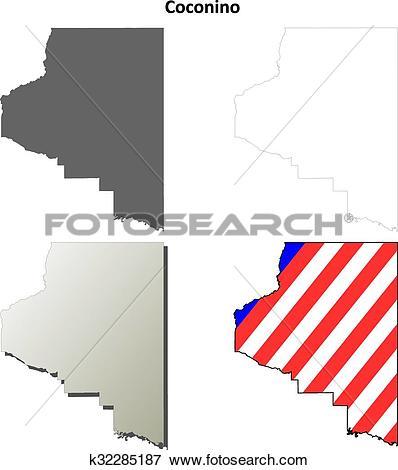 Clip Art of Coconino County, Arizona outline map set k32285187.