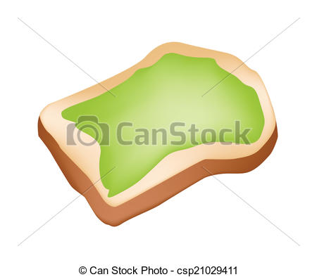 Vector Clip Art of Cut Loaf of Bread with Coconut Cream.