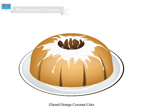 Glazed Orange Coconut Cake Micronesian Famous Dessert stock vector.