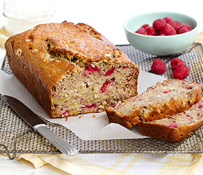 Banana, Raspberry & Coconut Bread.