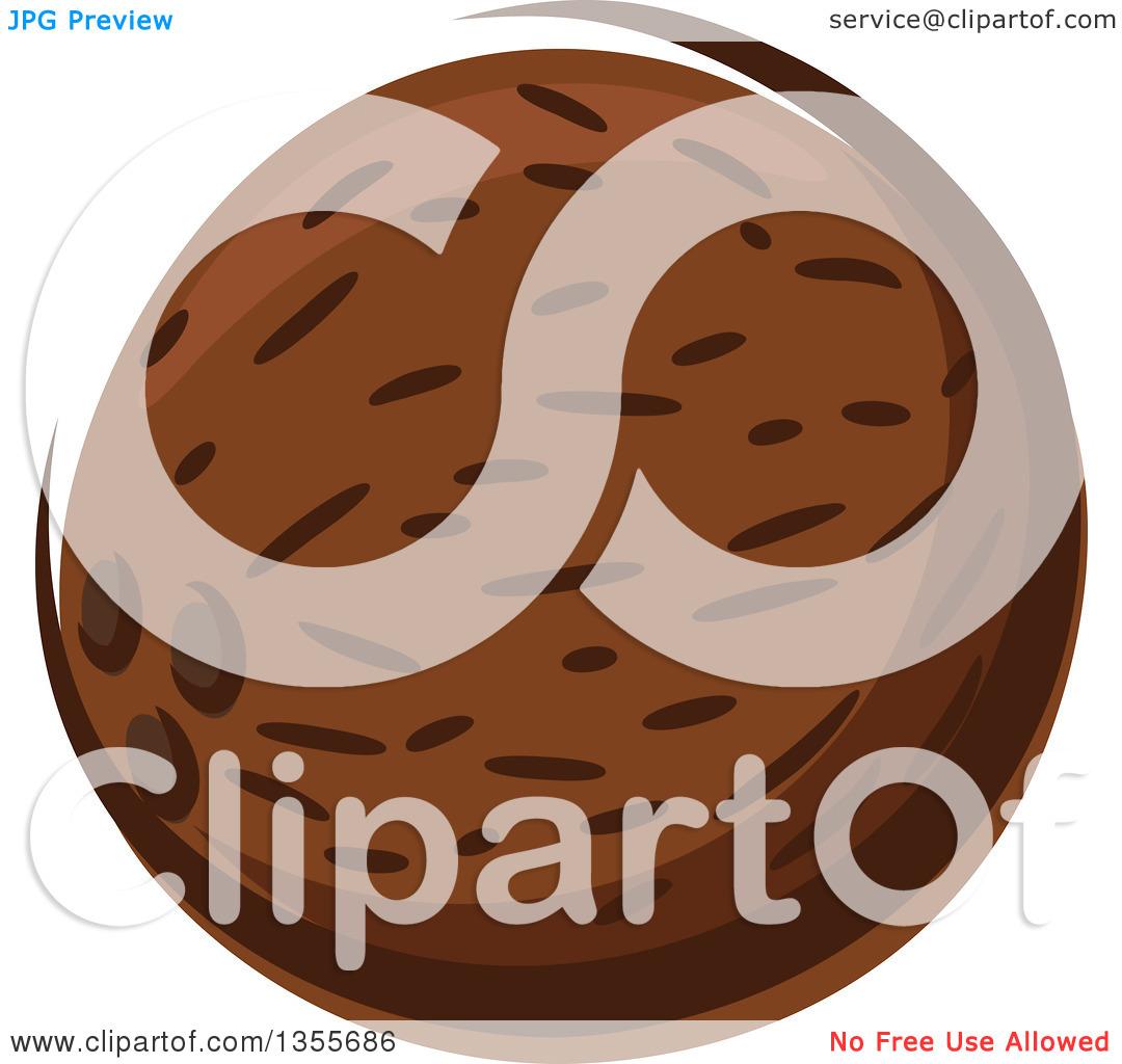 Clipart of a Cartoon Coconut.