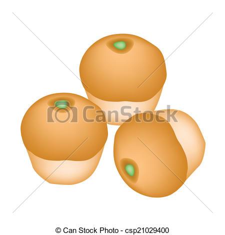 Vector Clipart of Bun Bread Stuffed with Green Coconut Cream.
