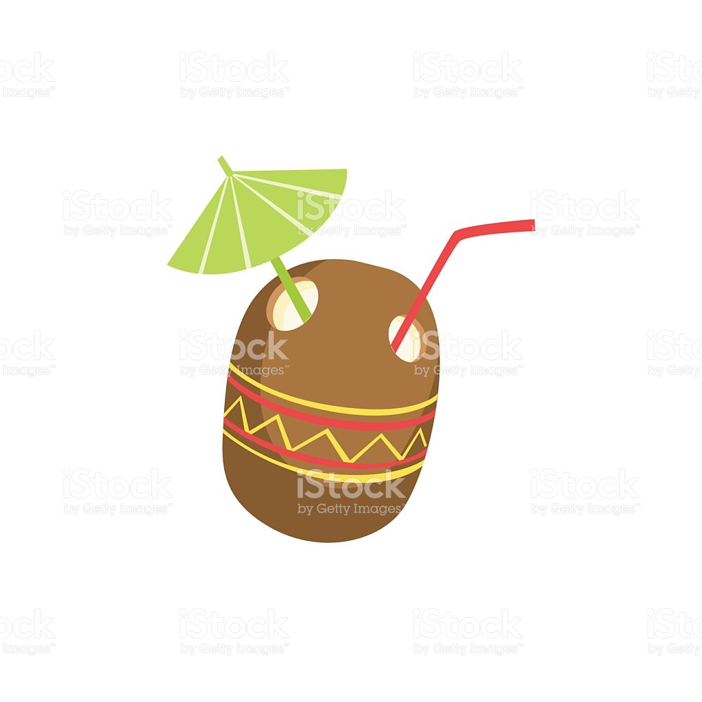 Cocktail Drink Served In Coconut stock vector art 589424328.