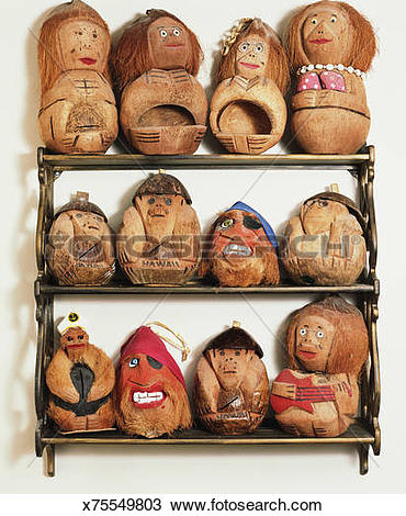 Stock Photo of Hawaiian souvenirs carved from coconuts x75549803.