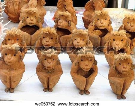 Stock Photo of Showpieces made of coconut, kept for selling in a.