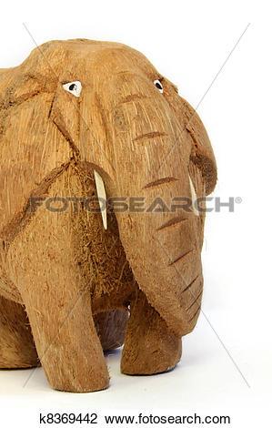 Stock Photo of Sri Lanka elephant from coconut nutshell k8369442.